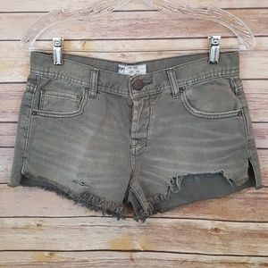 Free People Army Green Button Up Denim Shorts